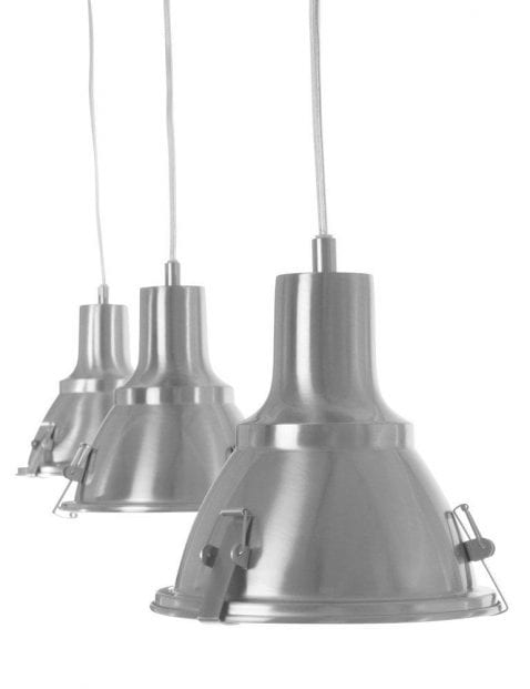Stoere hanglamp drielichts Steinhauer Parade staal