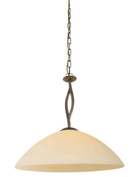 Klassieke hanglamp met glazen kap Steinhauer Capri brons