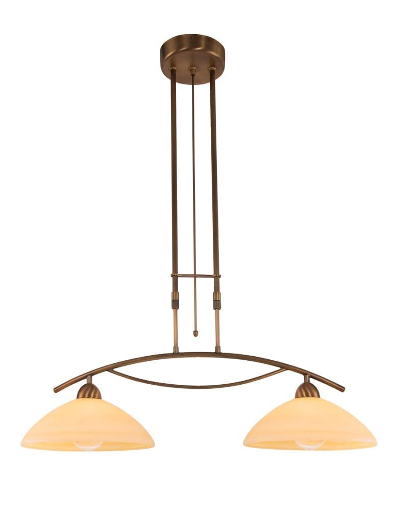 Dubbele bronzen hangverlichting met handgemaakt for Klassieke hanglamp