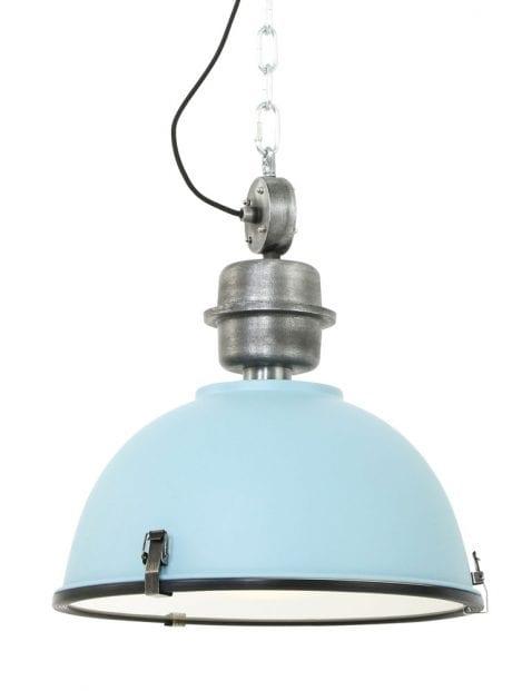 Licht blauwe stoere hanglamp Steinhauer Bikkel ø42 cm