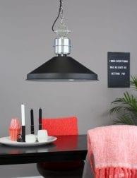Industriële grote hanglamp Anne Lighting Zappa zwart