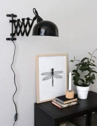 Industriële uittrekbare wandlamp Steinhauer Yorkshire zwart