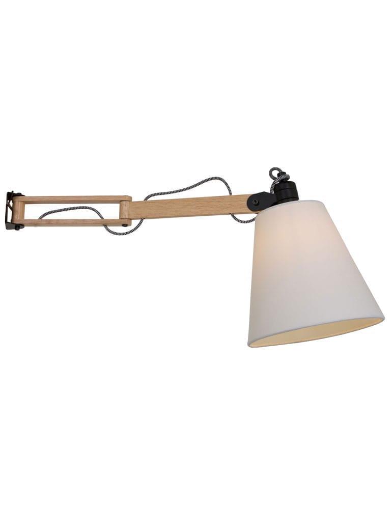 Bekend Scandinavische houten wandlamp witte kap QF51