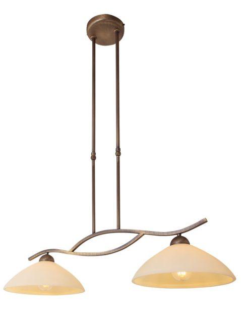 dubbele-hanglamp-eettafel-tweelichts-brons-met-glas