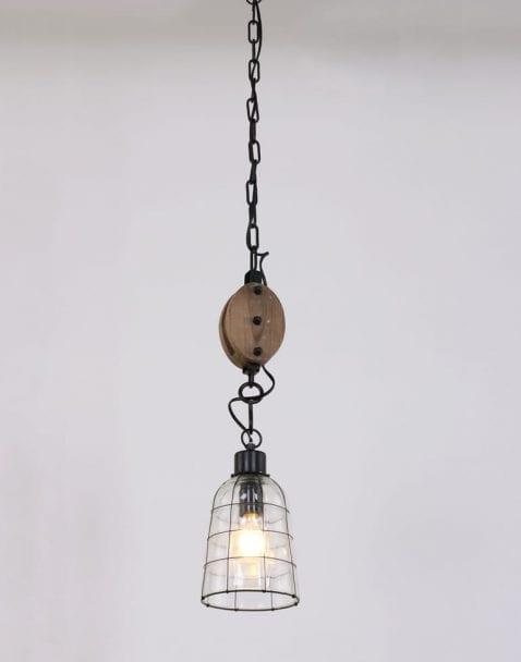 eettafellamp-stoer-hout-zwart-draad