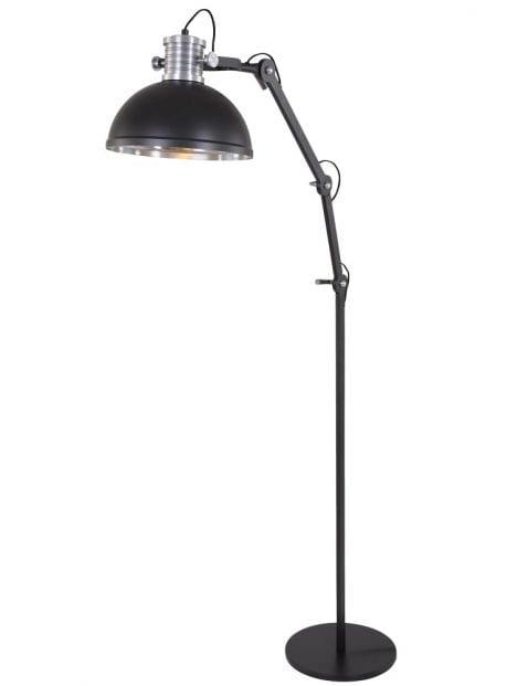 Stoere industriele vloerlamp Steinhauer Brooklyn zwart