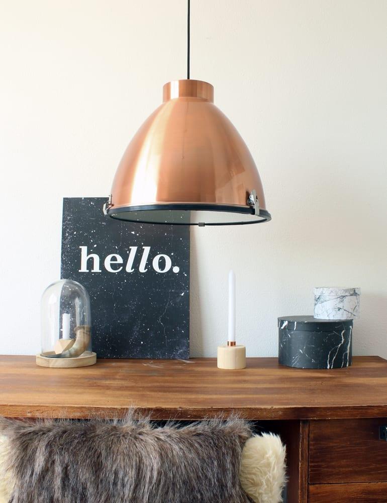 Koperen hanglamp eivormig glasplaat for Hanglamp eettafel