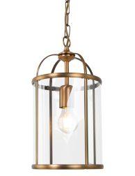 Hanglamp lantaarn brons met glas Steinhauer Pimpernel ø20 cm