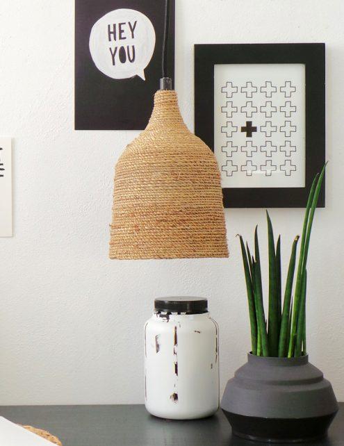 hanglampje met touw ombonden