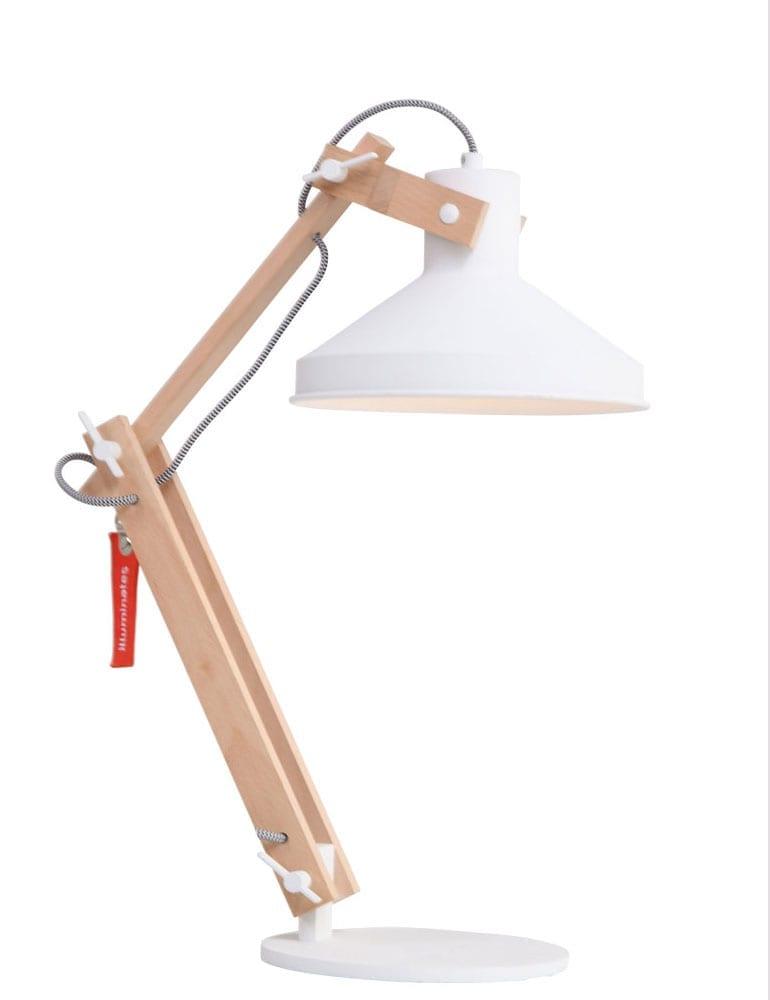 Scandinavische Tafellamp Blank Hout Met Witte Kap
