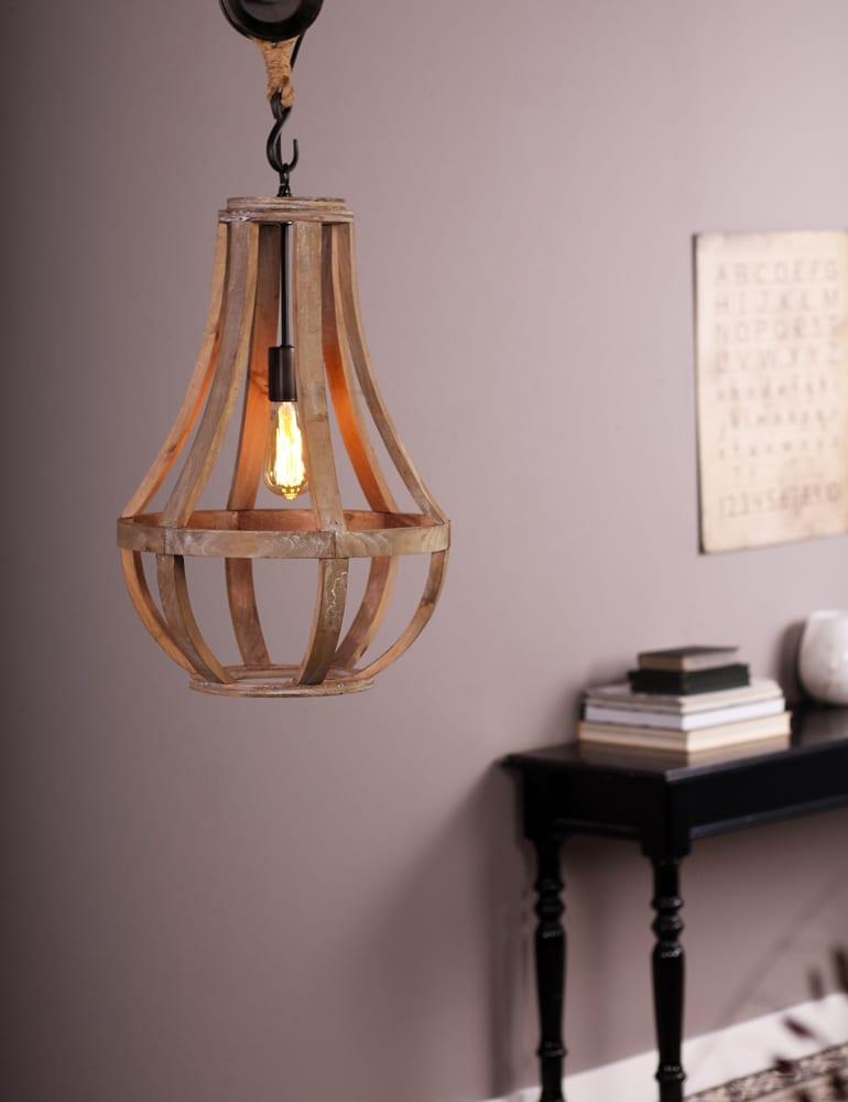 Bedwelming Katrol kroonluchter Anne Lighting Liberty Bell hout 40 cm @LK12