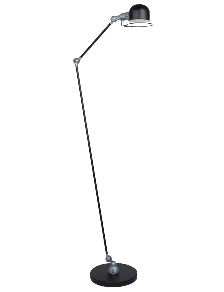 Kleine Zwarte Staande Lamp.Industriele Staande Lamp Mexlite Davin Zwart 150 Cm