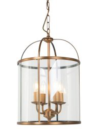 Klassieke hanglantaarn vierlichts Steinhauer Pimpernel brons met glas