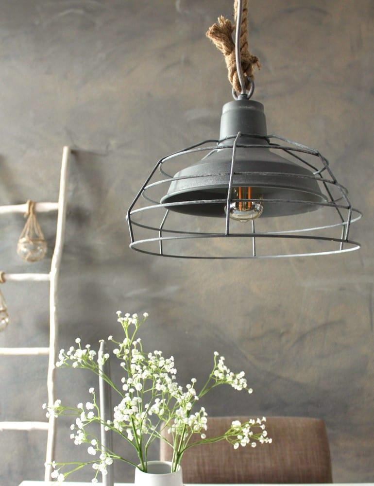Hanglamp Met Touw.Landelijke Hanglamp Mexlite Dina Grijs 33 Cm