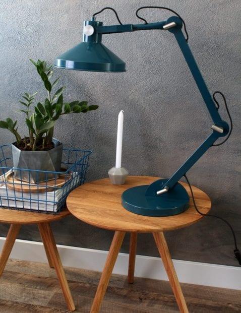 petrol kleurige bureaulamp crane