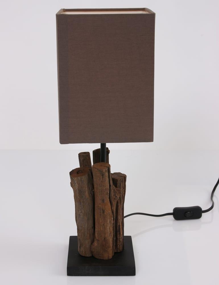 Landelijk bruin / taupe schemerlampje met hout - Directlampen.nl