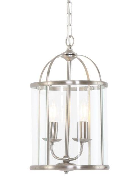 Hallamp hanglamp tweelichts Steinhauer Pimpernel staal met glas