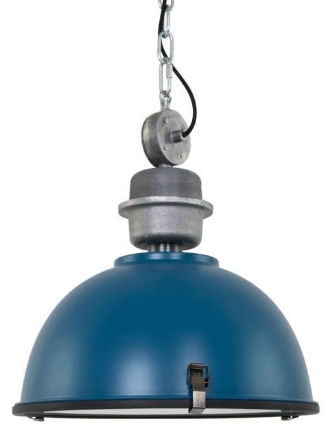 Donkerblauwe stoere hanglamp Steinhauer Bikkel ø42 cm