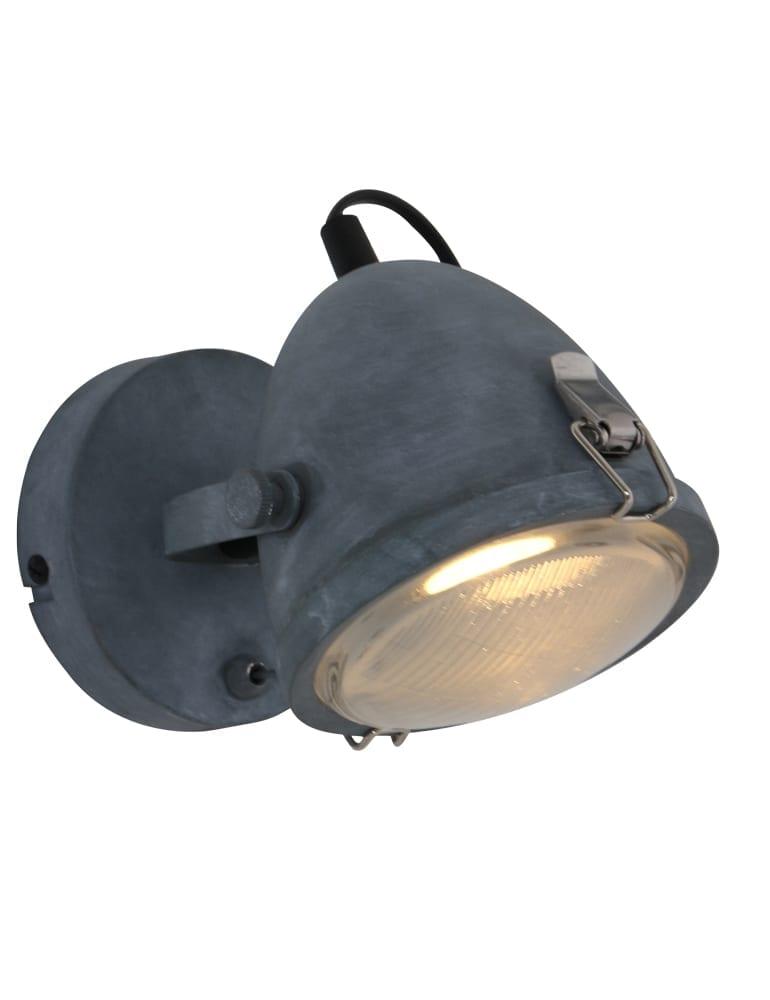 Industri le wandlamp lumidem paco grijs for Stoere wandlamp