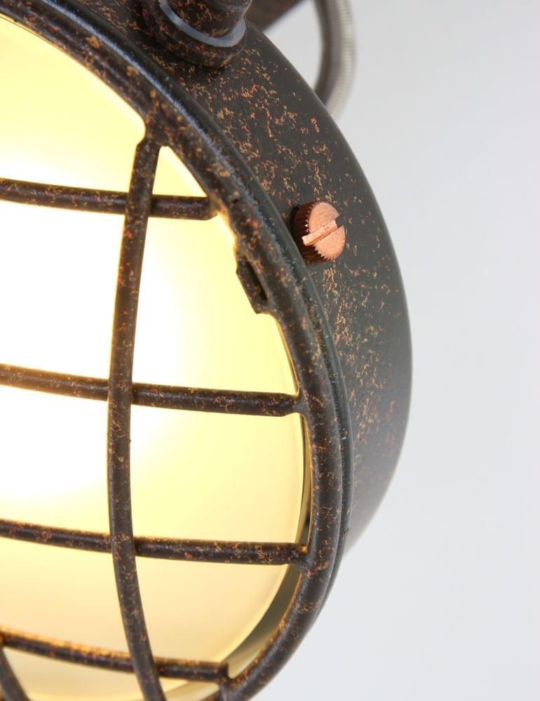 Stoere roosterplafondlamp freelight lazaro bruin for Freelight lampen