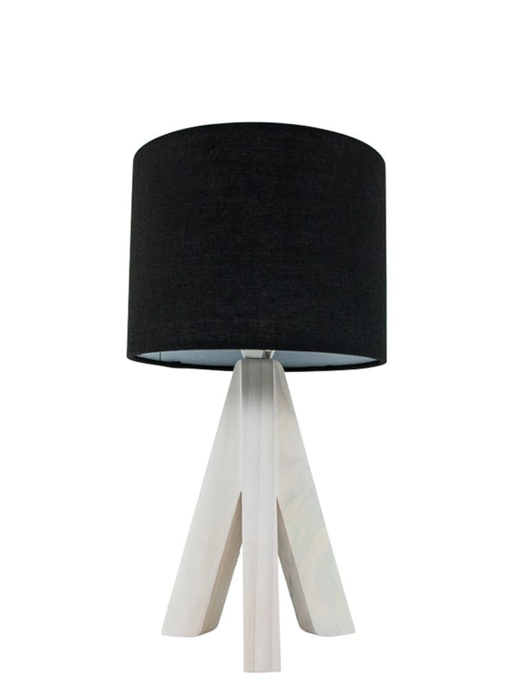 Kleine Zwarte Staande Lamp.Houten Schemerlamp Trio Leuchten Ging Zwart