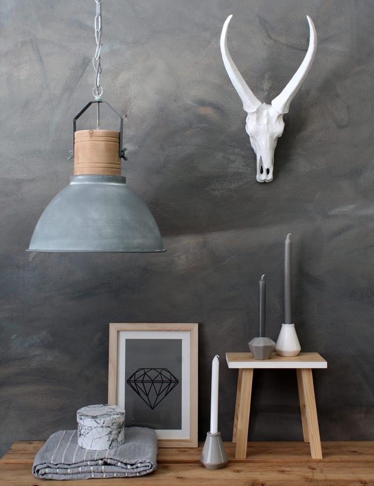 grijze hanglamp met hout. Black Bedroom Furniture Sets. Home Design Ideas