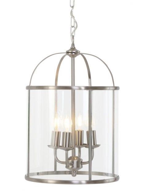 Stalen lantaarn hanglamp met glas vierlichts Steinhauer Pimpernel