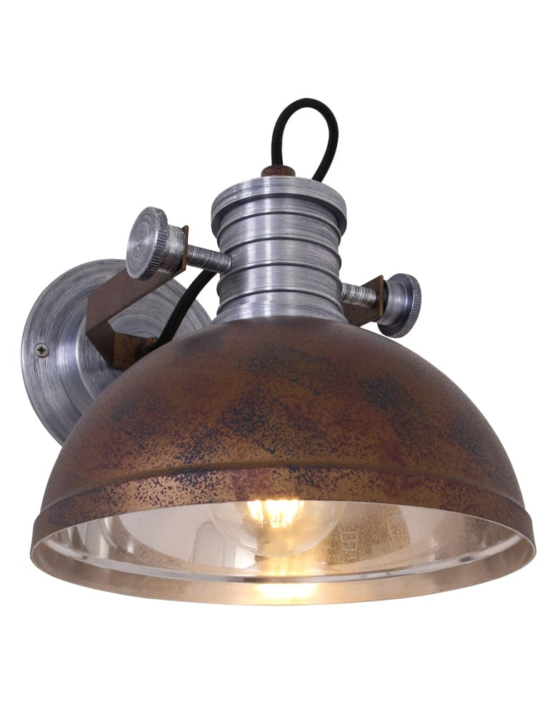 Industri le muurlamp steinhauer brooklyn bruin for Lamp industrieel
