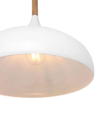 wit met hout hanglamp