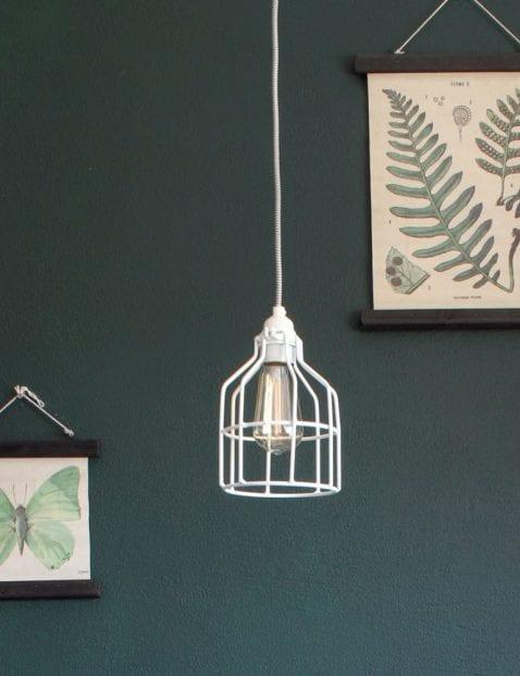 witte draadlamp kooilamp