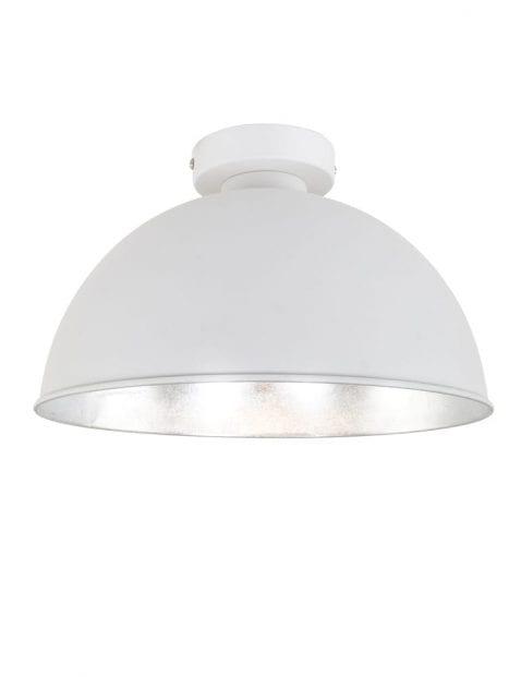 witte-ronde-plafondlamp-met-zilveren-binnenzijde