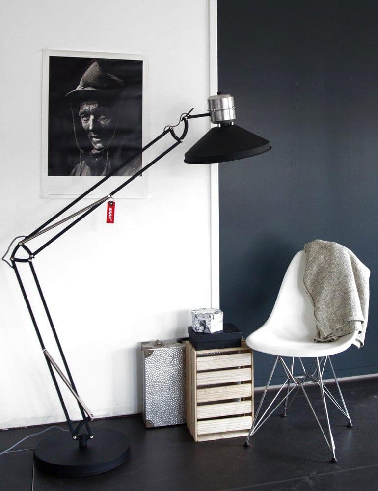 Industri le staande lamp anne zappa zwart 185 cm for Industriele staande lamp