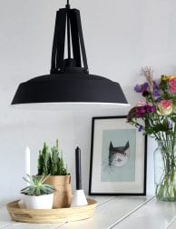 Zwarte stoere hanglamp Mexlite Luna