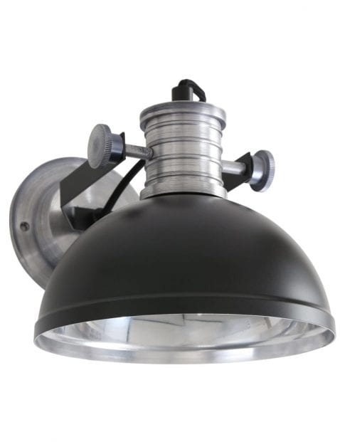 Industriële wandlamp Steinhauer Brooklyn zwart
