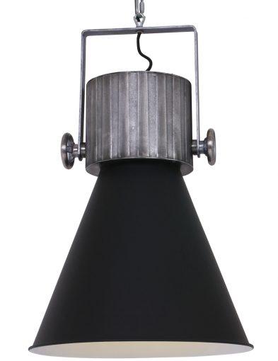 zwarte-stalen-uitlopende-hanglamp-eettafel-industrie