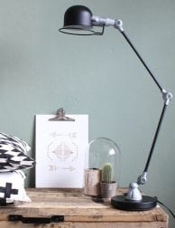 Bureaulamp met vintage look Mexlite Davin zwart