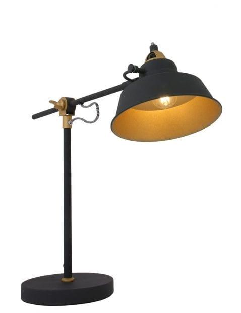 zwarte tafellamp met gouden details