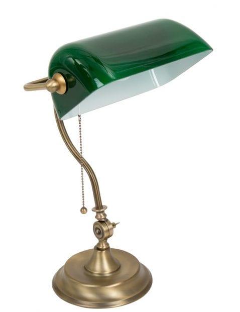 Notarislamp-brons-met-groene-kap