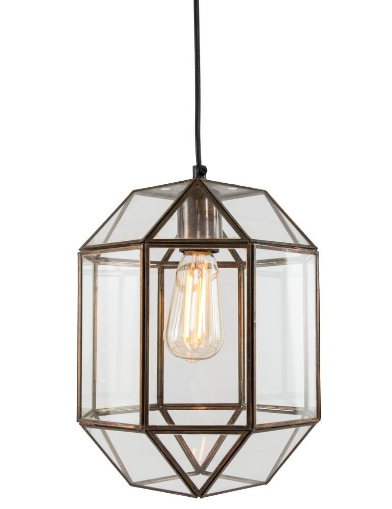 Afbeelding van Achthoekige glaslamp Light & Living Sonderso brons ∅22 cm
