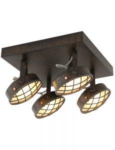 stoere rooster plafondlamp freelight lazaro oud bruin