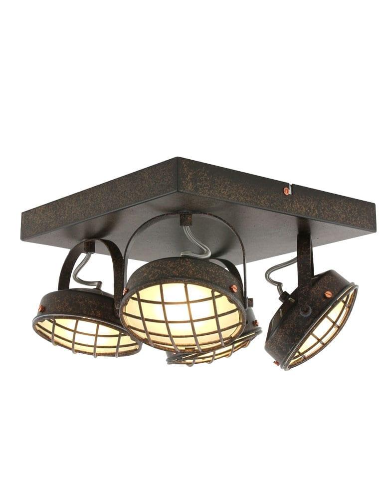 Stoere rooster plafondlamp freelight lazaro oud bruin for Freelight lampen