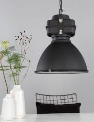 Zwarte industriële hanglamp Mexlite Densi
