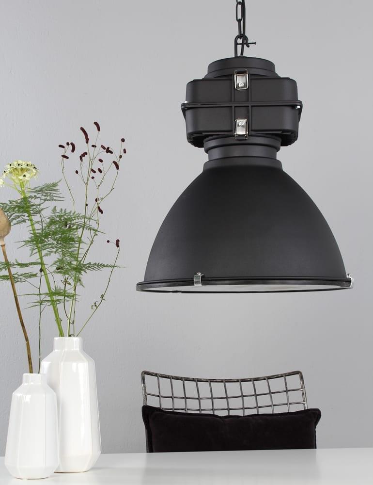 zwarte industriele hanglamp lumidem densi zwart 47 cm - directlampen.nl