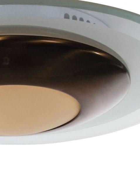 bronzen plafondlamp met witte glazen kap