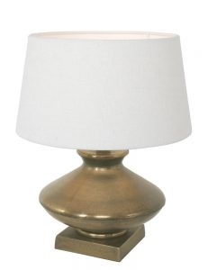 bronzen tafellamp met witte kap