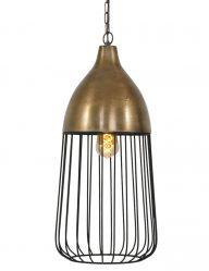 goud met zwart draadhanglamp