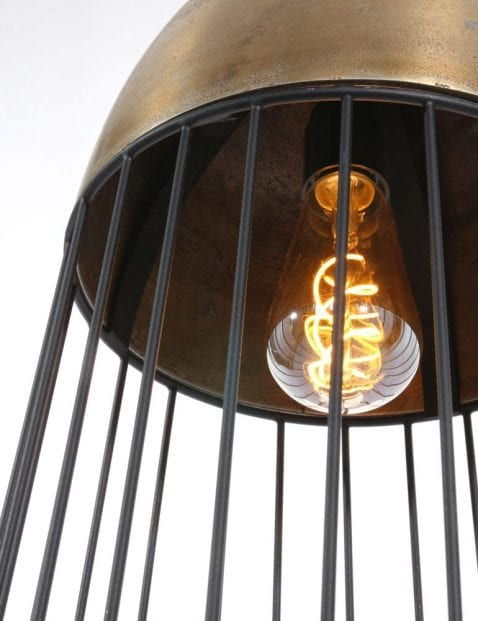 goud met zwart metalen draadlamp