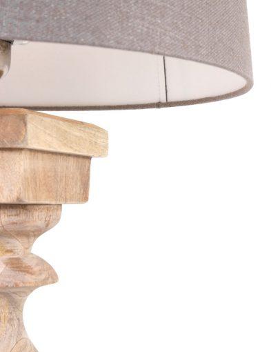 houten tafellamp met grijze kap