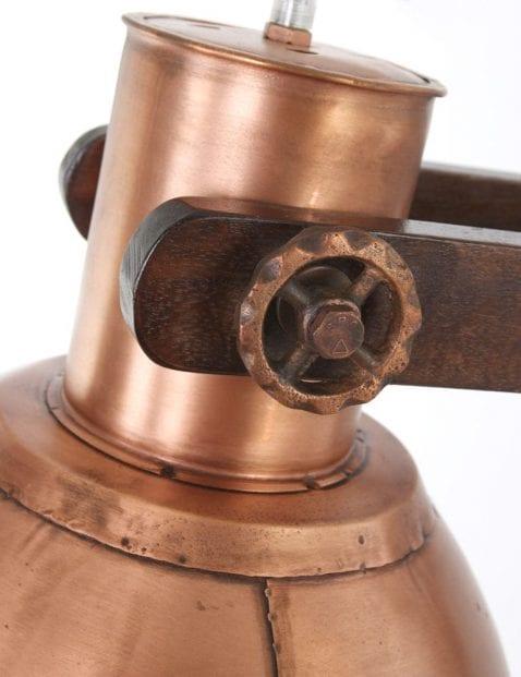 houten vloerlamp met verstelbare kap