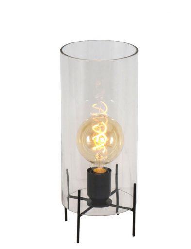 metalen tafellamp met glazen kap